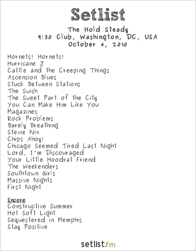 The Hold Steady Setlist 9:30 Club, Washington, DC, USA 2010