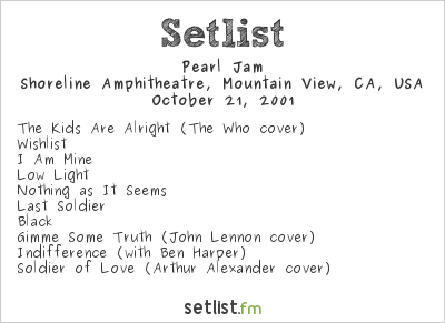 Pearl Jam Setlist Bridge School Benefit 2001 2001