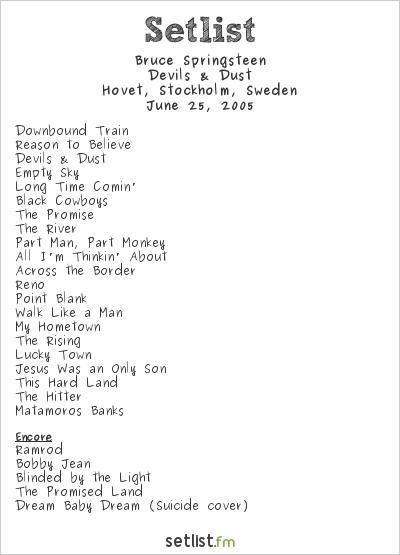 Bruce Springsteen Setlist Hovet, Stockholm, Sweden 2005, Devils & Dust (European Leg)