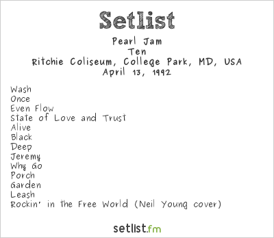 Pearl Jam Setlist Ritchie Coliseum, College Park, MD, USA 1992, Ten