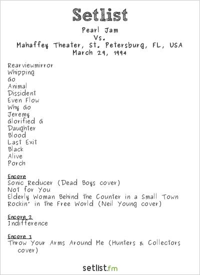 Pearl Jam Setlist Mahaffey Theater, St. Petersburg, FL, USA 1994, Vs.