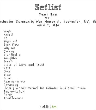 Pearl Jam Setlist Rochester Community War Memorial, Rochester, NY, USA 1994, Vs.
