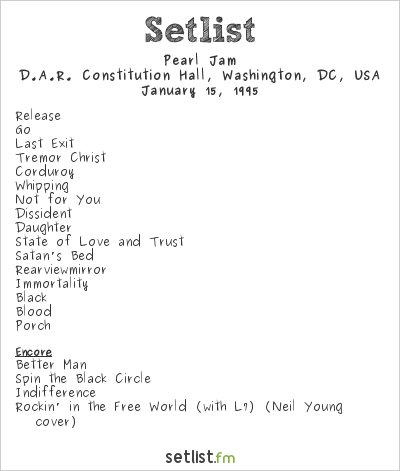 Pearl Jam Setlist Voters For Choice 1995 1995