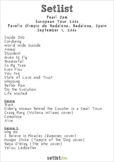 Pearl Jam Setlist Pavelló Olímpic de Badalona, Badalona, Spain, European Tour 2006