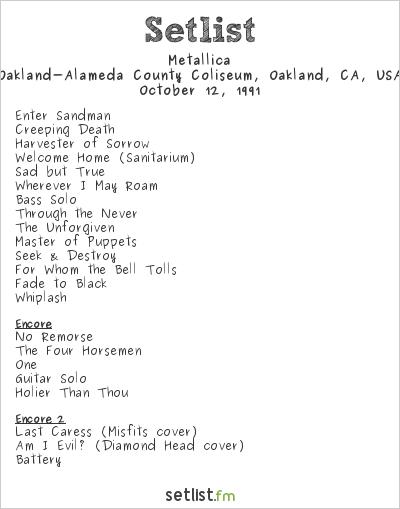 Metallica Setlist Day on the Green 1991 1991
