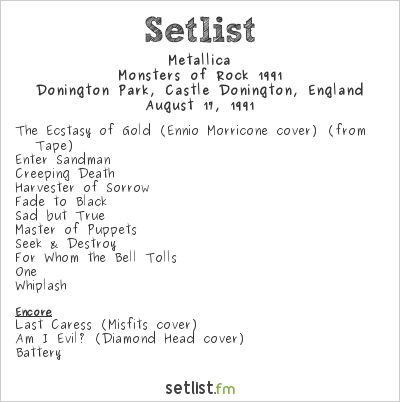 Metallica Setlist Monsters of Rock England 1991, Monsters of Rock 1991