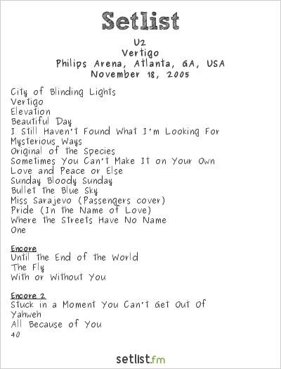 U2 at Philips Arena, Atlanta, GA, USA Setlist