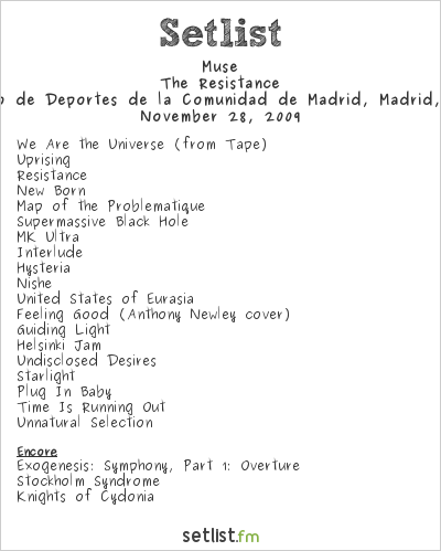 Muse Setlist Palacio de Deportes de la Comunidad de Madrid, Madrid, Spain 2009, Resistance European Arena Tour