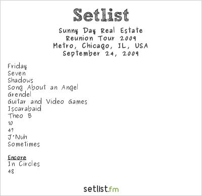 Sunny Day Real Estate Setlist Metro, Chicago, IL, USA, Reunion Tour 2009