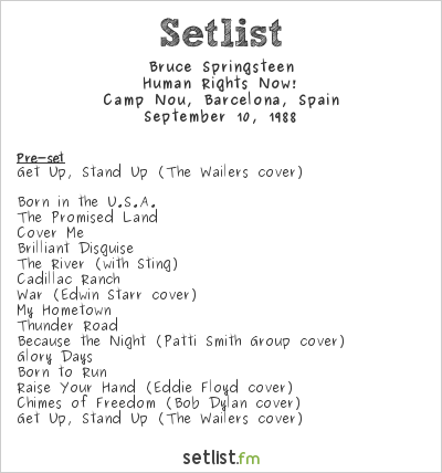 Bruce Springsteen Setlist Human Rights Now! 1988 1988, Human Rights Now!