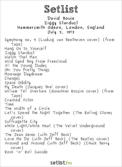 David Bowie Setlist Hammersmith Odeon, London, England 1973, Ziggy Stardust Tour