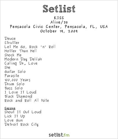 KISS Setlist Pensacola Civic Arena, Pensacola, FL, USA 2009, Alive 35