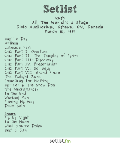 Rush Setlist Civic Auditorium, Oshawa, ON, Canada 1977, All The World's a Stage Tour