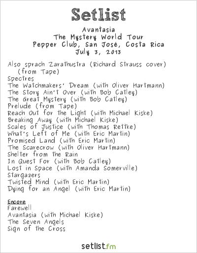 Avantasia Setlist Pepper Club, San José, Costa Rica 2013, The Mystery World Tour