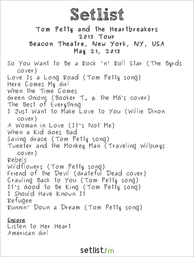 Tom Petty and the Heartbreakers Setlist Beacon Theatre, New York, NY, USA 2013