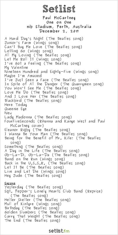 Paul McCartney Setlist nib Stadium, Perth, Australia 2017, One on One