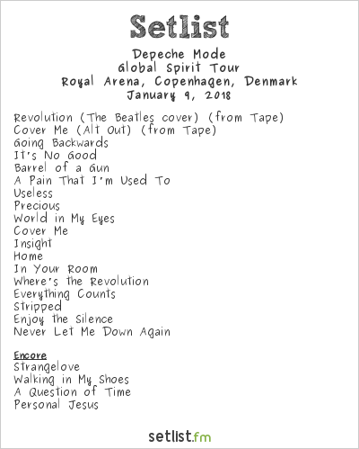 Depeche Mode Setlist Royal Arena, Copenhagen, Denmark 2018, Global Spirit Tour
