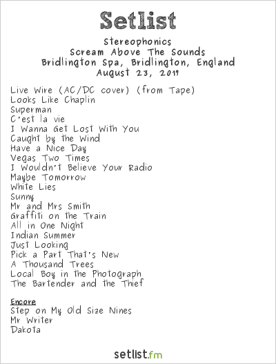 Stereophonics Setlist Bridlington Spa, Bridlington, England 2017, Scream Above The Sounds