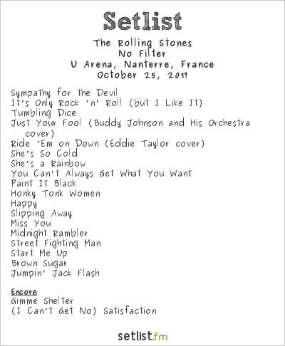 The Rolling Stones at U Arena, Nanterre, France Setlist