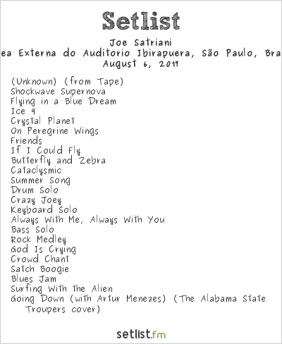 Joe Satriani Setlist Área Externa do Auditório Ibirapuera, São Paulo, Brazil 2017