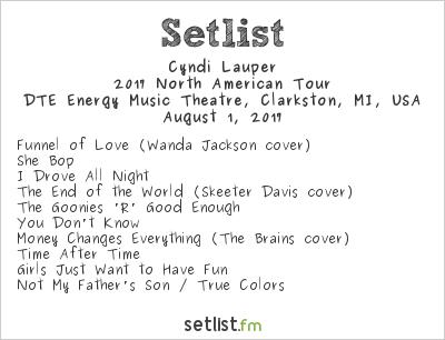Cyndi Lauper Setlist DTE Energy Music Theatre, Clarkston, MI, USA, Rod Stewart / Cyndi Lauper 2017