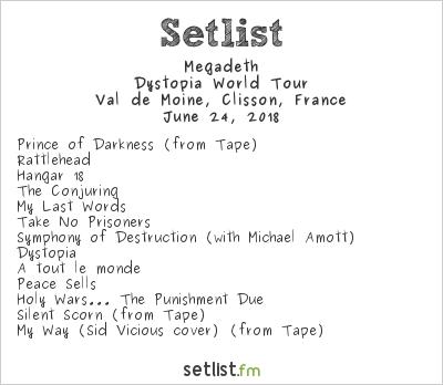Megadeth Setlist Hellfest 2018 2018, Dystopia World Tour