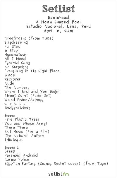 Radiohead Setlist Soundhearts Festival Peru 2018 2018, A Moon Shaped Pool