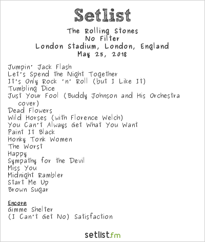 The Rolling Stones Setlist London Stadium, London, England 2018, No Filter