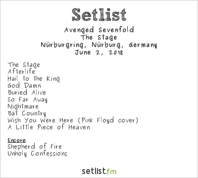Avenged Sevenfold Setlist Rock am Ring 2018 2018, The Stage