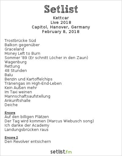 Kettcar Setlist Capitol, Hanover, Germany, Live 2018