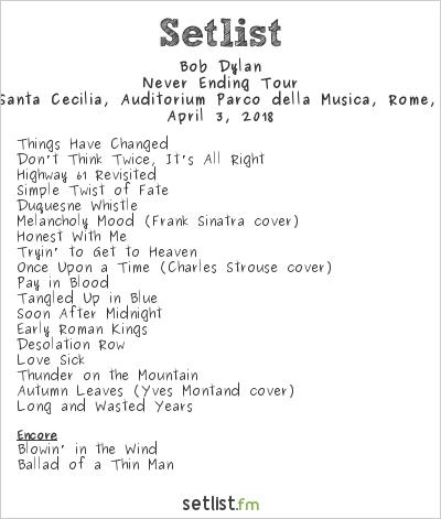 Bob Dylan Setlist Sala Santa Cecilia, Auditorium Parco della Musica, Rome, Italy 2018, Never Ending Tour