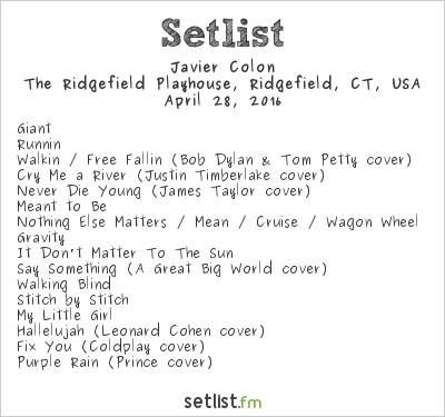 Javier Colon Setlist The Ridgefield Playhouse, Ridgefield, CT, USA 2016