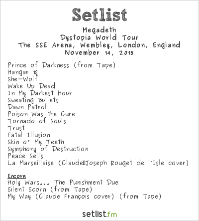 Megadeth Setlist The SSE Arena, Wembley, London, England 2015, Dystopia World Tour