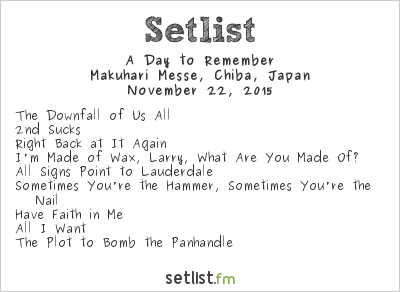 A Day to Remember Setlist Ozzfest Japan 2015 2015