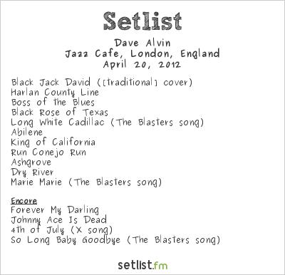 Dave Alvin Setlist Jazz Cafe, London, England 2012