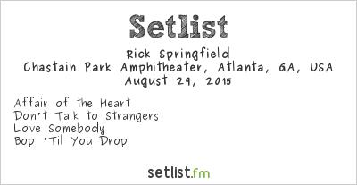 Rick Springfield at Chastain Park Amphitheater, Atlanta, GA, USA Setlist