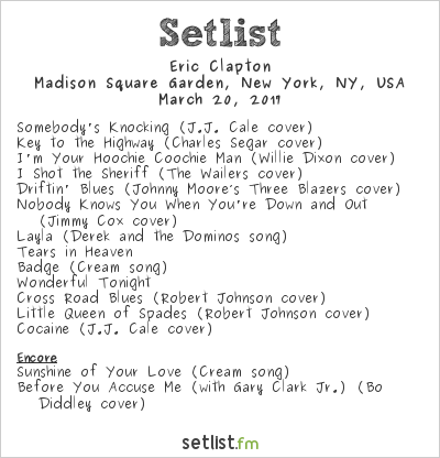 Eric Clapton Setlist Madison Square Garden New York Ny Usa 2017 Widgets