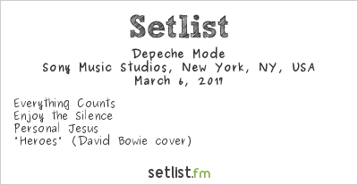 Depeche Mode Setlist Sony Music Studios, New York, NY, USA 2017