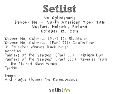 Ne Obliviscaris Setlist Nosturi, Helsinki, Finland, Devour Me - North American Tour 2016