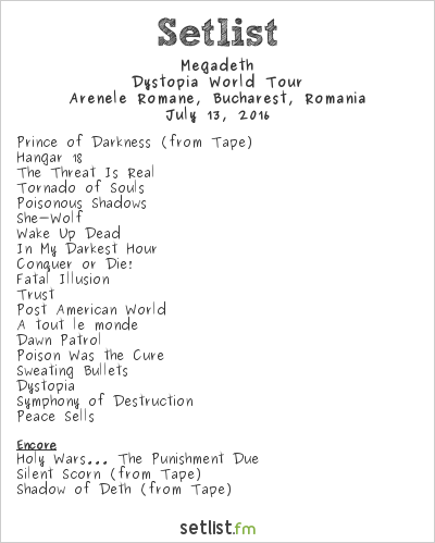 Megadeth Setlist Arenele Romane, Bucharest, Romania 2016, Dystopia World Tour